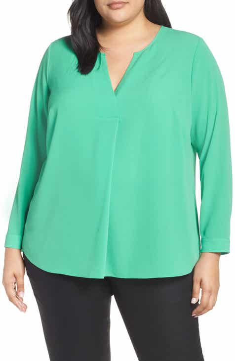 08adc7583cc Vince Camuto Soft Texture Split Neck Tunic (Plus Size)