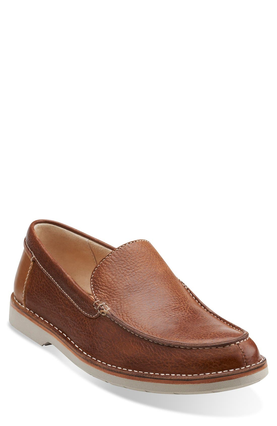 Clarks Tan Mens Leather Hinton Sun Loafers