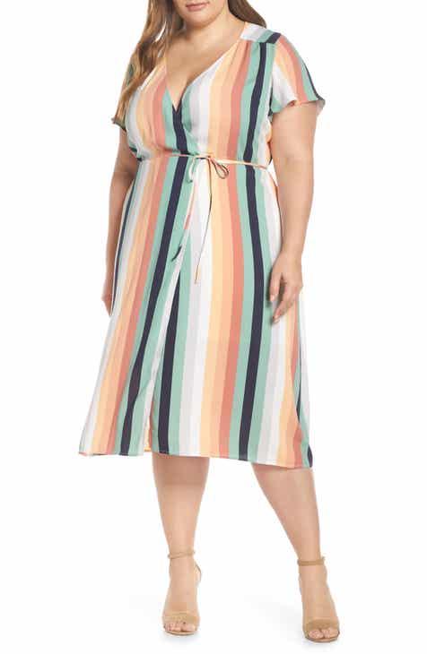 Leith Midi Wrap Dress (Plus Size) by LEITH