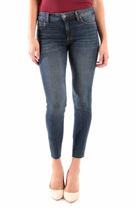 KUT from the Kloth Donna Fab Ab High Waist Raw Hem Skinny Jeans (Remissive) d9aa1c6e89