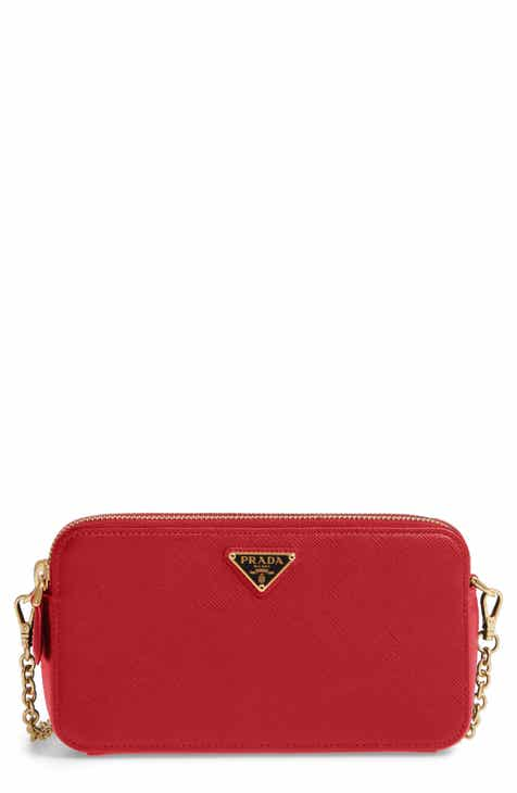90f03317df70d4 Prada Small Double Compartment Zip Saffiano Leather Crossbody Bag