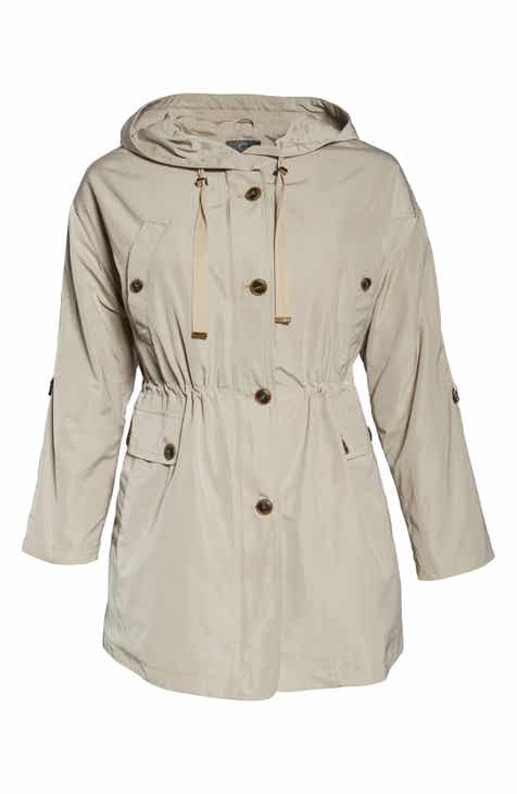 Gallery Fitted Hooded Raincoat (Plus Size) by GALLERY