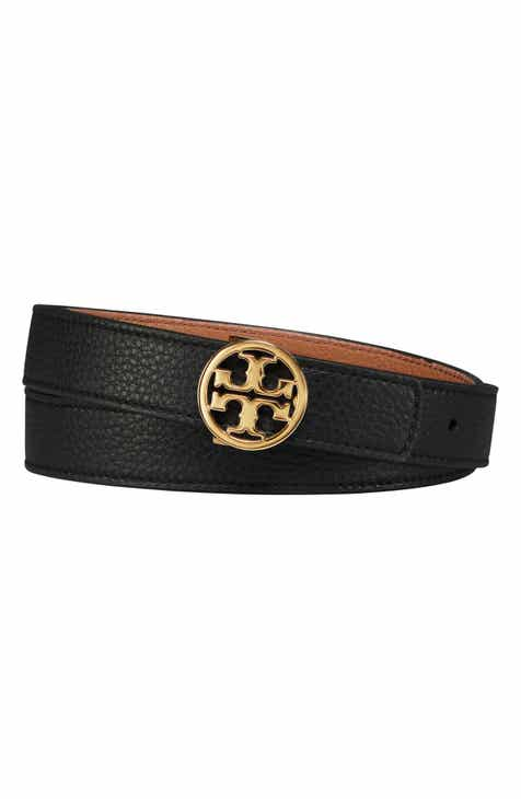 efc9b440e473 Tory Burch Logo Reversible Leather Belt
