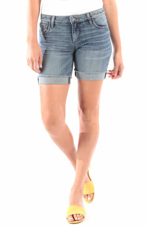 Vigoss Leopard Side Stripe Denim Shorts by VIGOSS