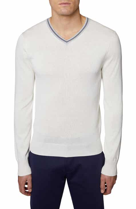 36560a519dbd Hickey Freeman V-Neck Silk   Cotton Sweater