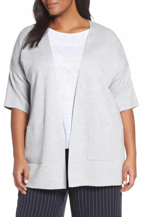 14a8dd429aa5c Eileen Fisher Elbow Sleeve Cardigan (Plus Size)