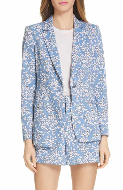 Alice + Olivia Macey Floral Print Cotton Blend Blazer by ALICE AND OLIVIA