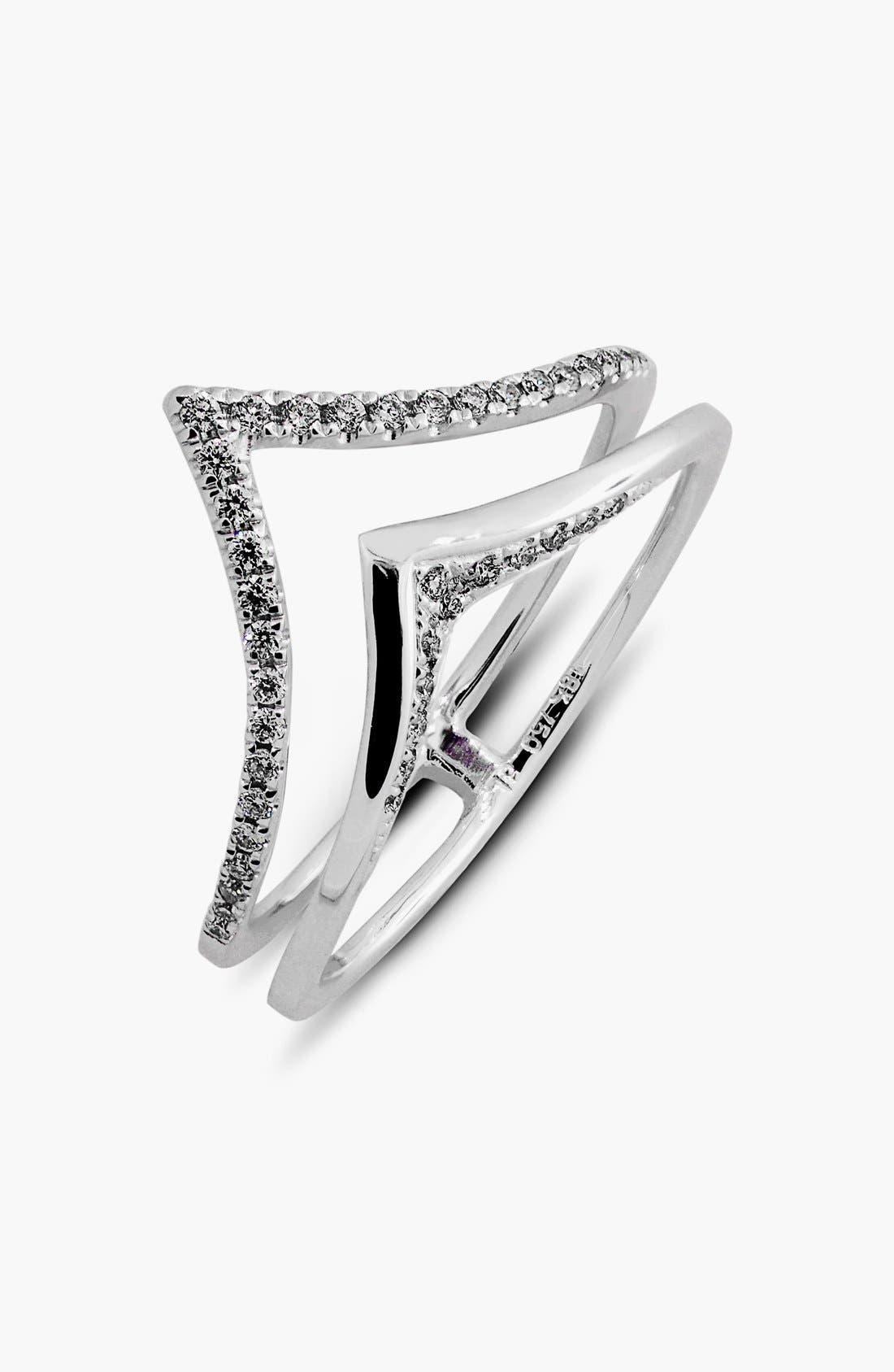 Prism Chevron Diamond Ring,                         Main,                         color, White Gold