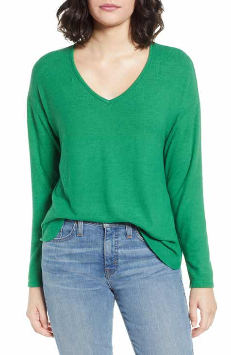 03c254175ad Gibson Cozy V-Neck Top (Regular   Petite)