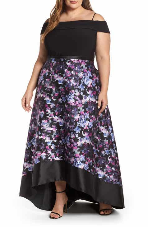e05e58de5a4f34 Morgan   Co. Cold Shoulder Mikado High Low Hem Evening Dress (Plus Size)