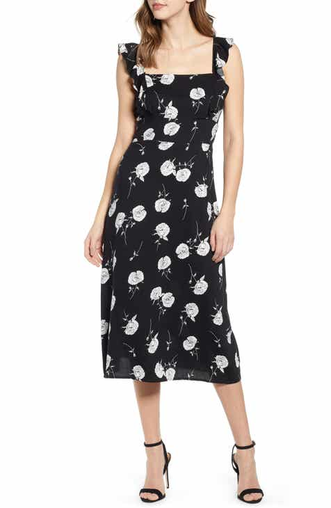 59813999406 Leith Ruffle Front Square Neck Midi Dress