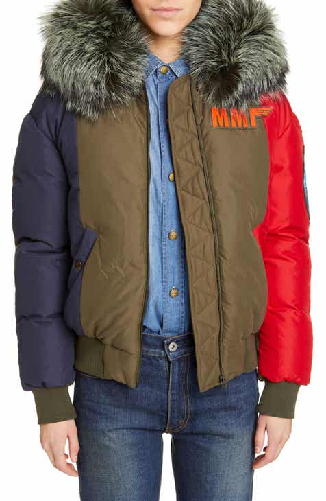 Mr and Mrs Italy Armstrong Waterproof Down Bomber Jacket with Genuine Fox Fur Trim by MR AND MRS ITALY