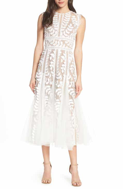 Bronx and Banco Saba Leaf Appliqué Lace Midi Dress