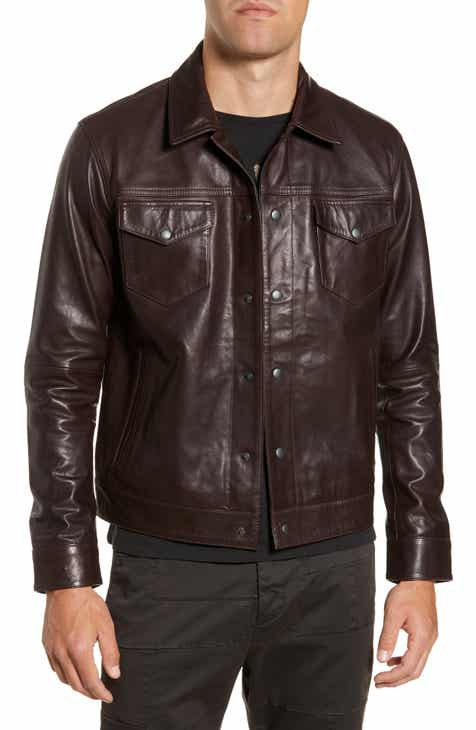 f086b693f6f John Varvatos Star USA Tristan Leather Trucker Jacket