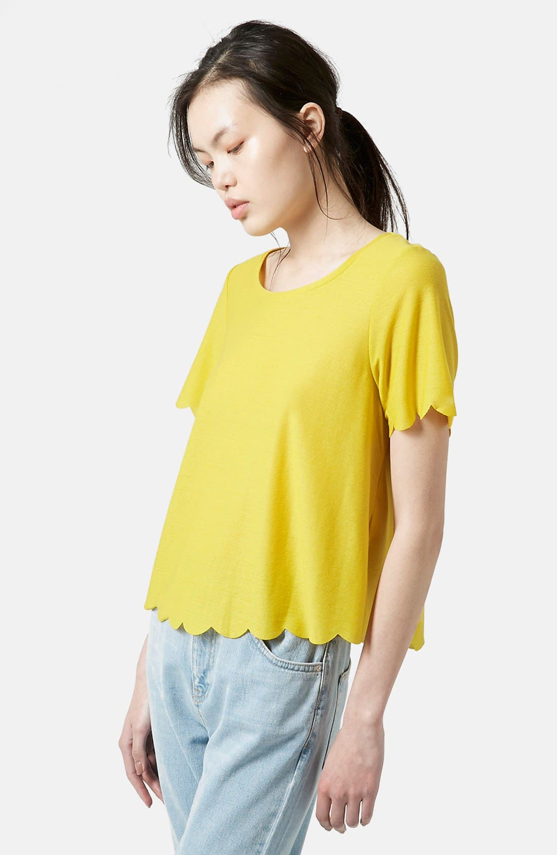 Scallop Frill Tee,                         Main,                         color, Yellow