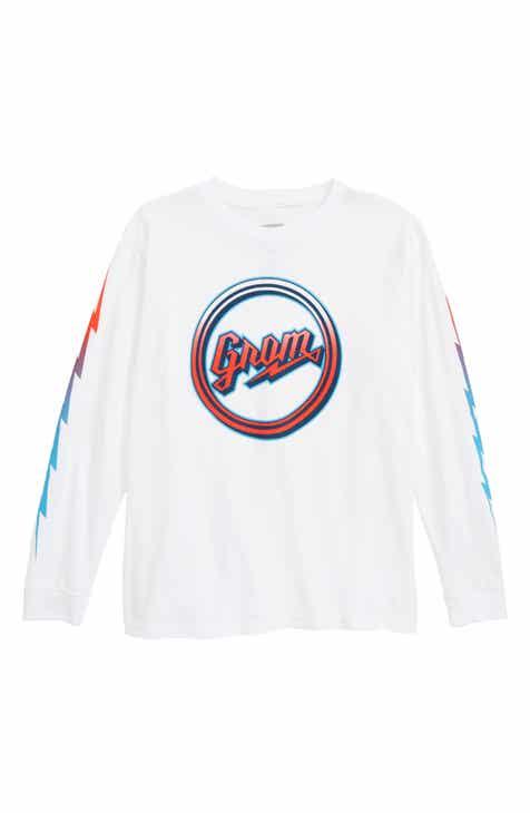 Grom Fade Script Logo Long Sleeve T-Shirt (Little Boys & Big Boys)
