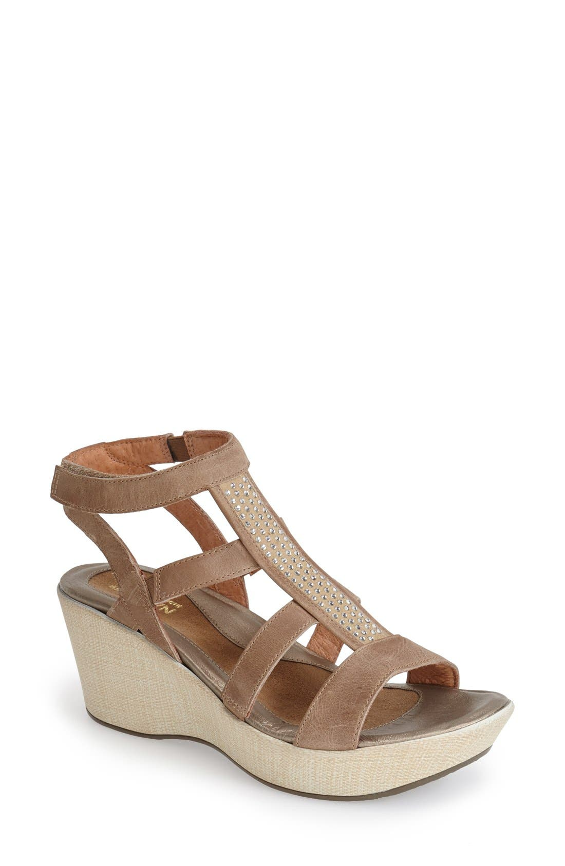'Mystery' Platform Wedge Sandal,                             Main thumbnail 1, color,                             Beige