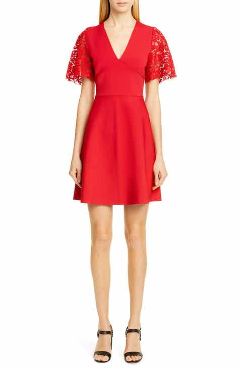 25d73836961 Valentino Lace Flutter Sleeve Sweater Dress