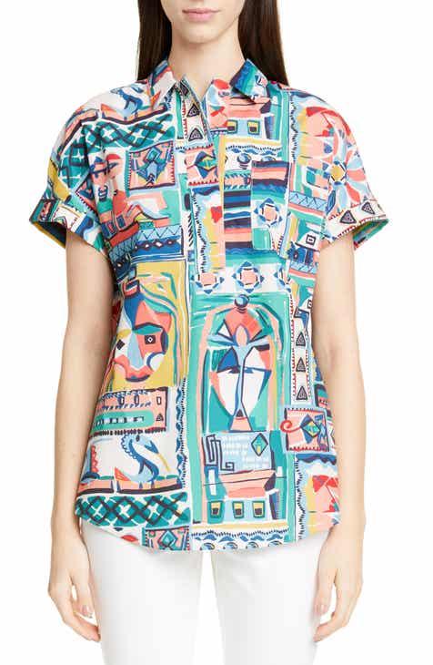 79bae01abc4464 Lafayette 148 New York Huxley Palazzo Patchwork Print Shirt