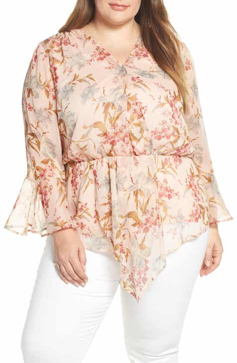 3b8233b9 Vince Camuto Flutter Cuff Wildflower Cinch Top (Plus Size)