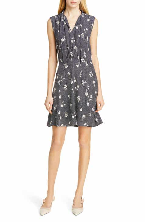 Tailored by Rebecca Taylor Wildflower Print Sleeveless Silk Dress