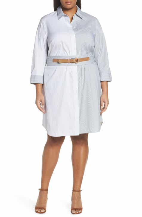 Lafayette 148 New York Peggy Stripe Shirtdress (Plus Size) by LAFAYETTE 148
