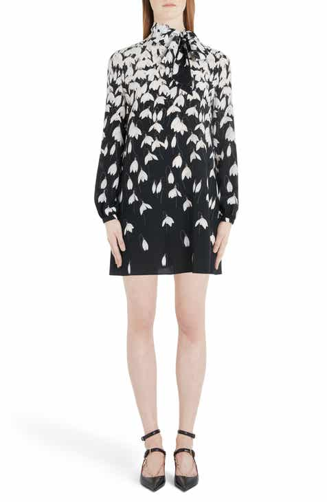 Valentino Bucaneve Tie Neck Silk Minidress