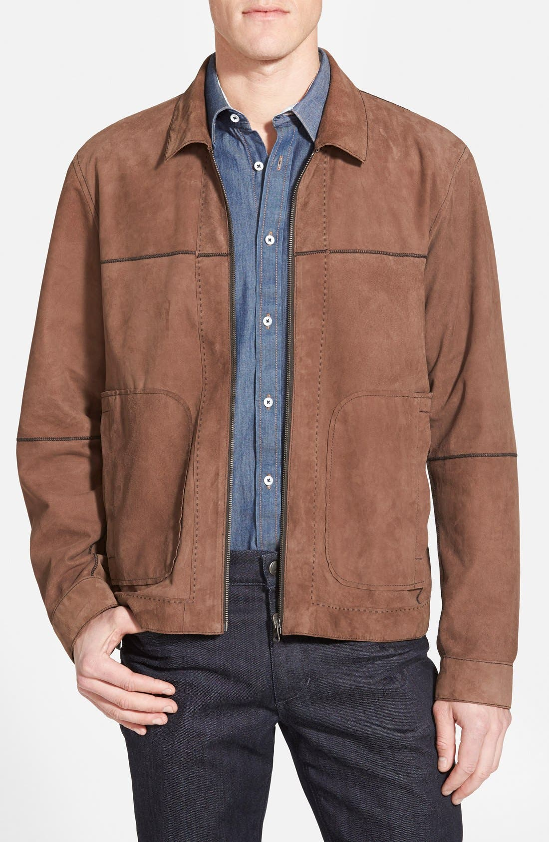 Reversible Suede Jacket,                             Main thumbnail 1, color,                             Chocolate