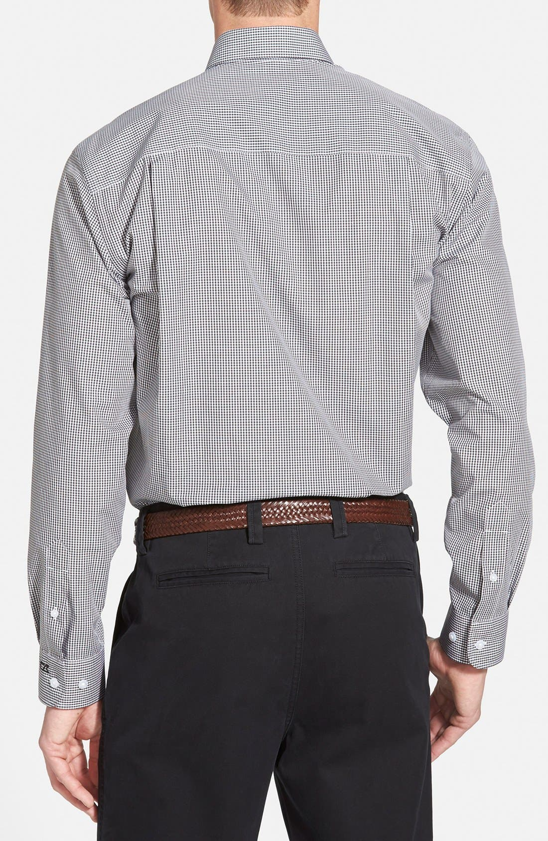 'Epic Easy Care' Classic Fit Wrinkle Free Gingham Sport Shirt,                             Alternate thumbnail 2, color,                             Charcoal Grey
