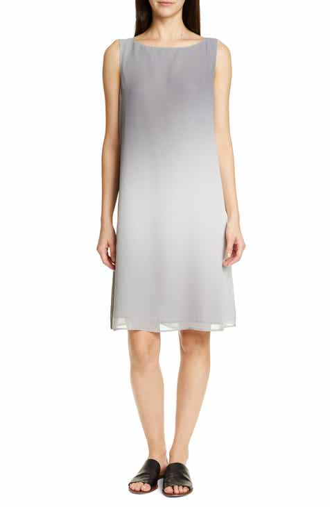 cd532ed5f79 Eileen Fisher Bateau Neck Silk Dress (Regular   Petite)