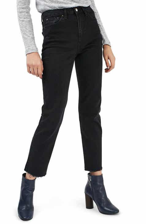 b75e9ed64911 Topshop Moto Raw Hem Straight Jeans (Washed Black)