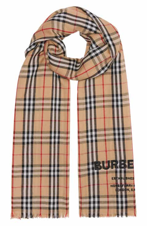 Burberry Embroidered Logo Vintage Check Cashmere Scarf 8163116608