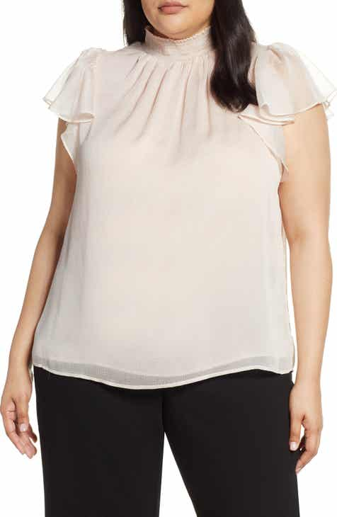 7403d87f9f79a STATE Mock Neck Flutter Sleeve Top (Plus Size)