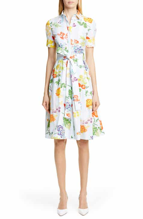 586cae8ca9 Carolina Herrera Floral Print Stretch Cotton Shirtdress