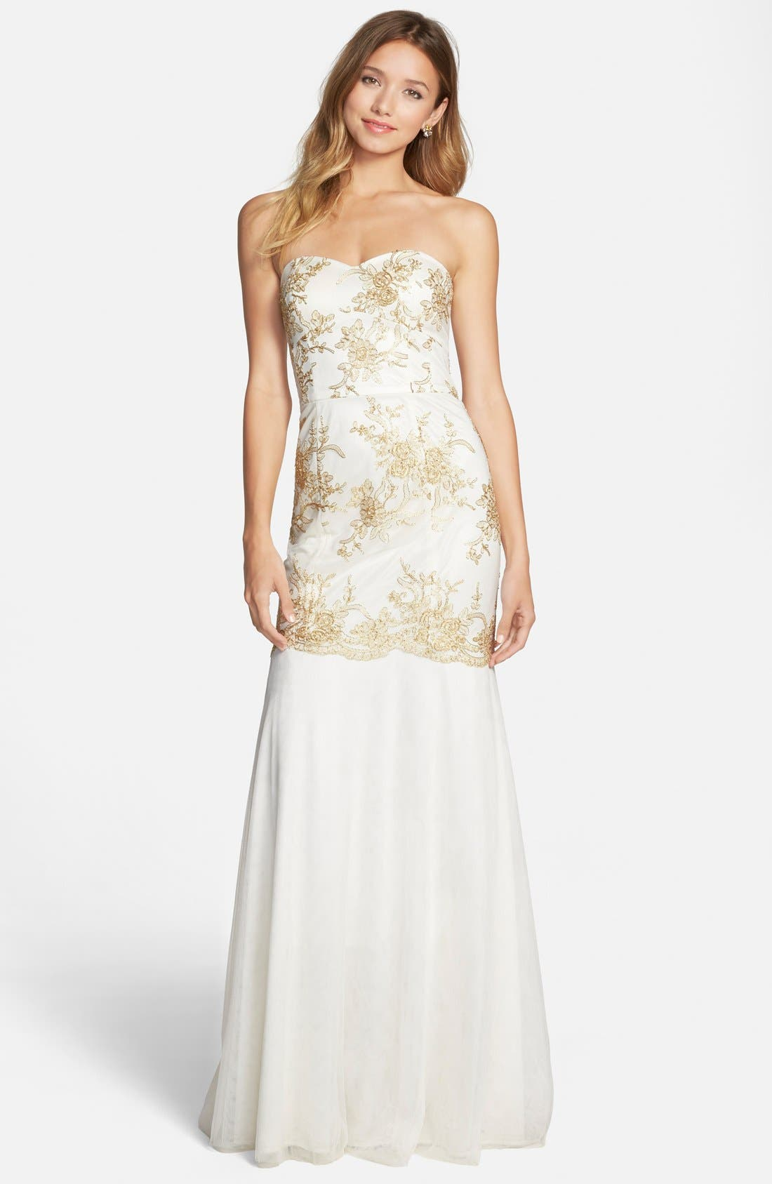 Alternate Image 1 Selected - Hailey by Adrianna Papell Embroidered Mermaid Gown