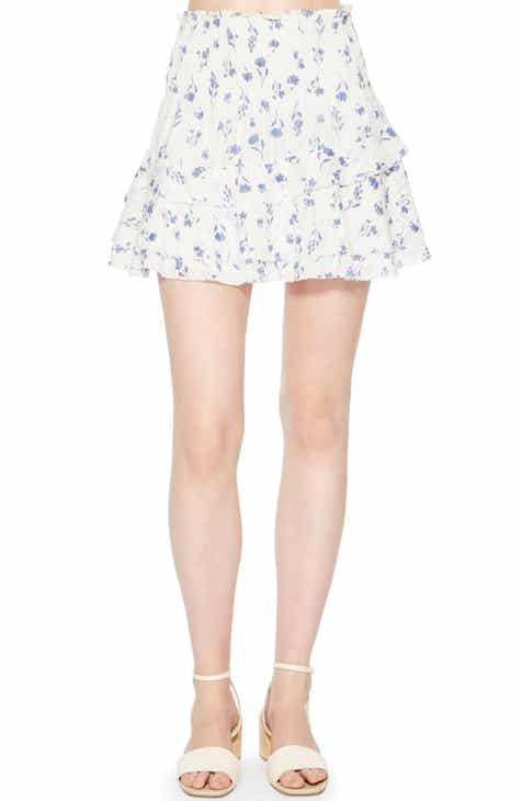 Tinsel Button Front Denim Miniskirt by TINSEL