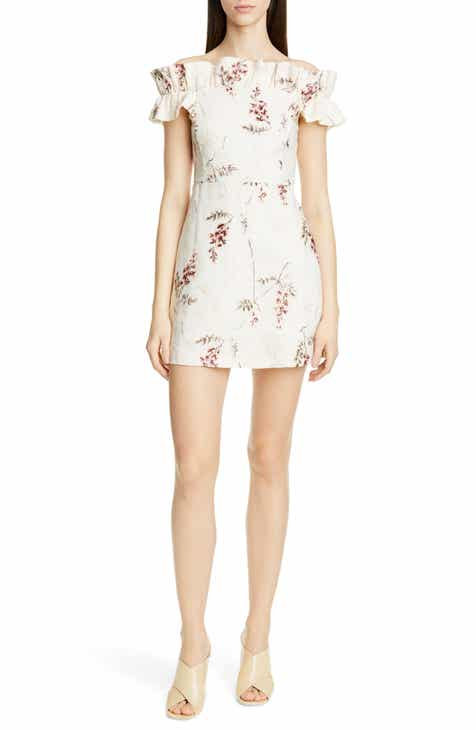 Rebecca Taylor Ivie Off the Shoulder Embroidered Detail Linen Dress by REBECCA TAYLOR