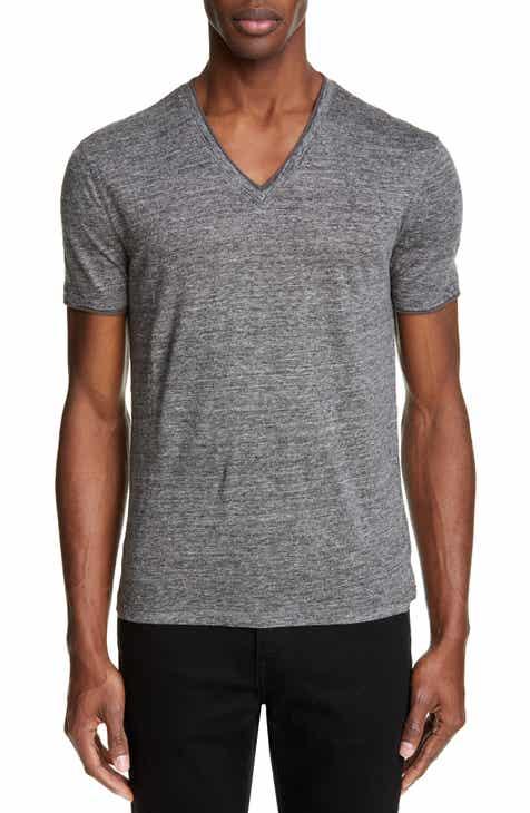 7311714492a2b John Varvatos Slubbed Linen V-Neck T-Shirt
