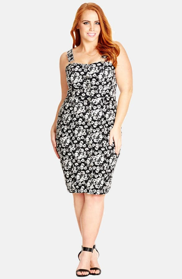 City Chic Floral Overall Stretch Denim Dress Plus Size Nordstrom