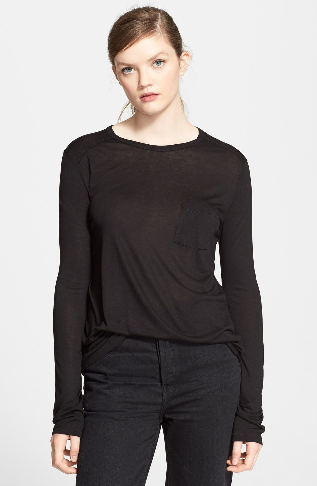 Long Sleeve Pocket Tee,                         Main,                         color, Black