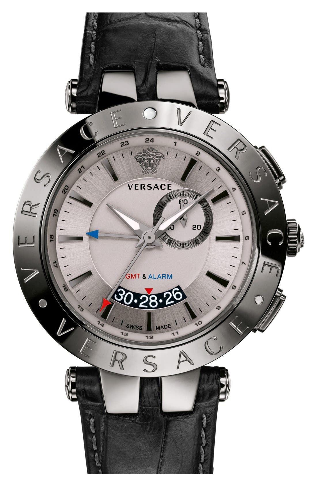 Main Image - Versace 'V-Race GMT' Round Leather Strap Watch, 46mm