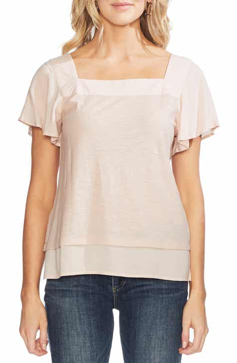 66202c4383bd6d Vince Camuto Layered Look Flutter Sleeve Top (Regular   Petite)