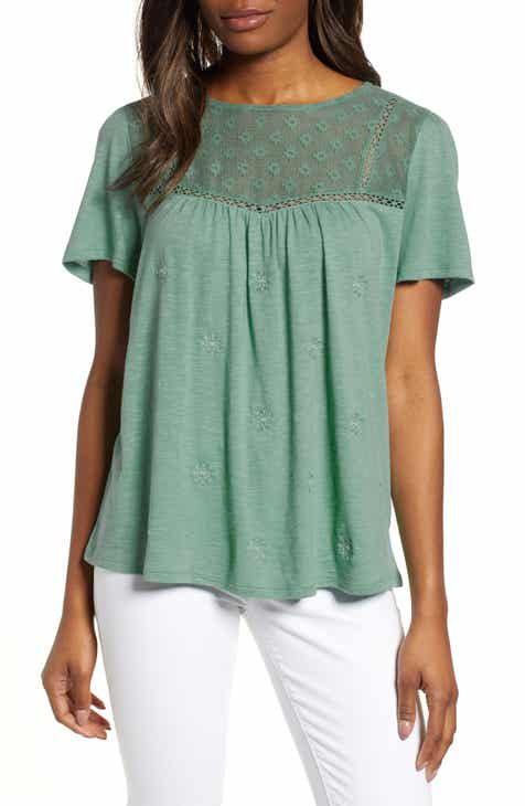 150cab6b8a063 Caslon® Embroidered Mesh Yoke Top (Regular   Petite)