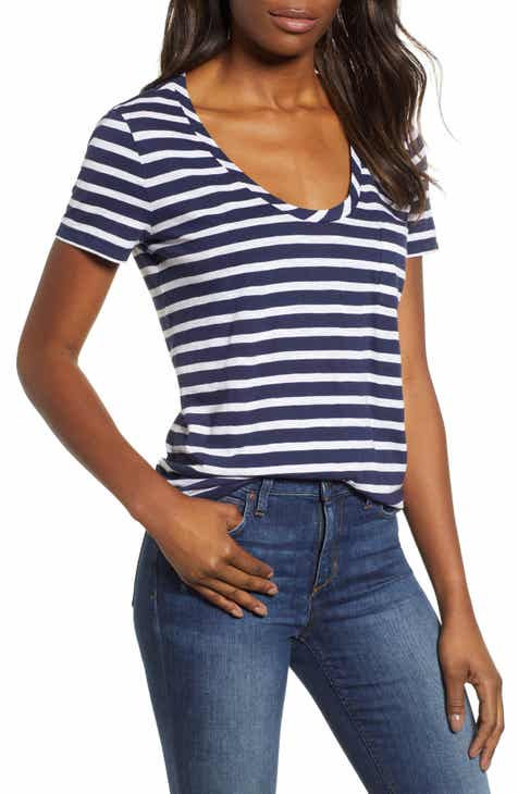 92223c77b857e Caslon® Rounded V-Neck Tee (Regular   Petite) (2 for  38)