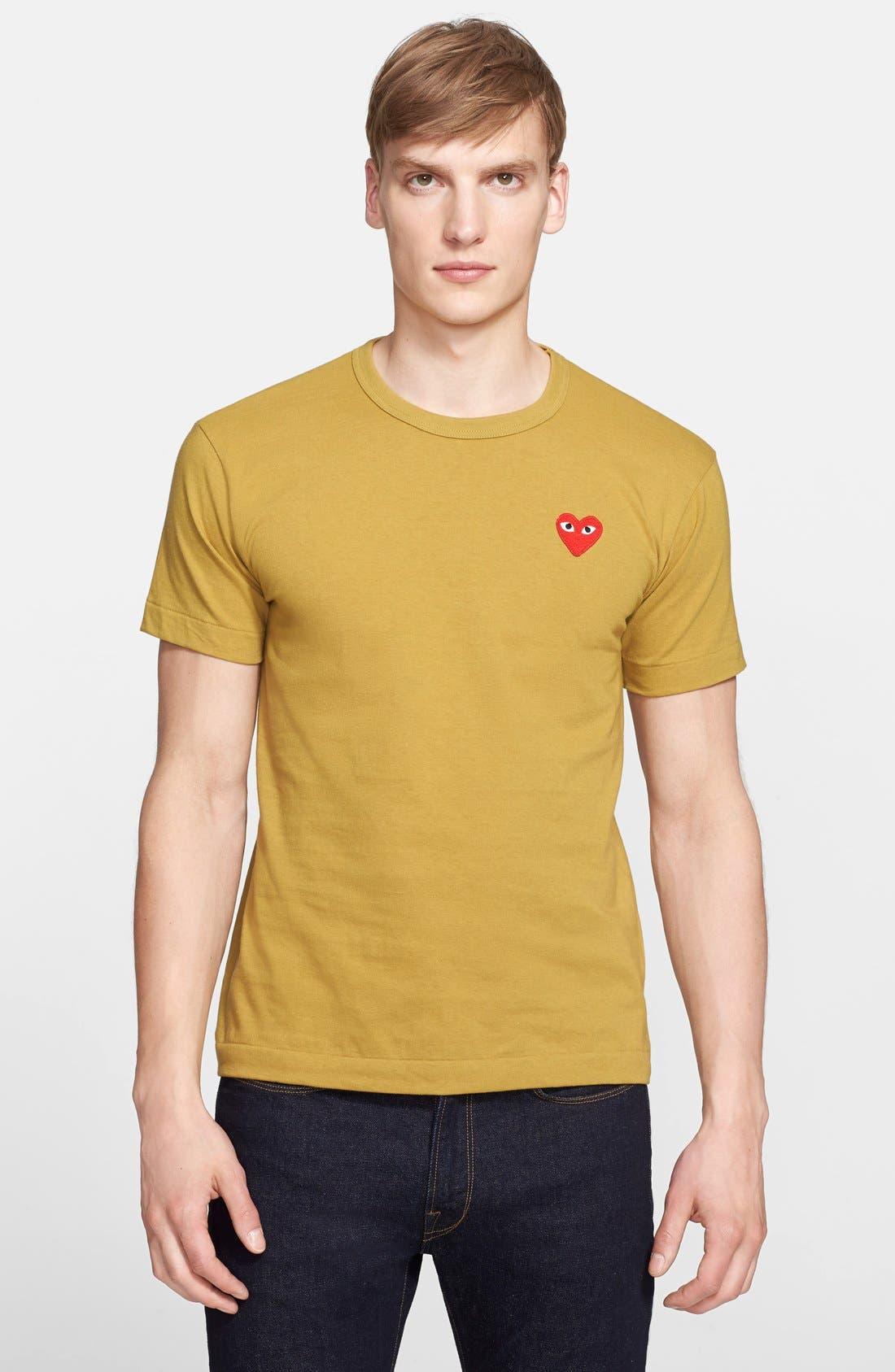 Comme des Garçons PLAY Cotton Jersey T-Shirt,                             Main thumbnail 1, color,                             Olive
