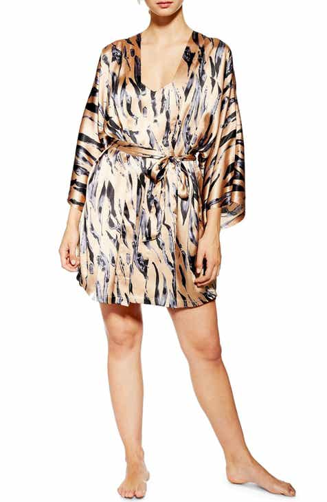Topshop Tiger Print Satin Short Robe by TOPSHOP