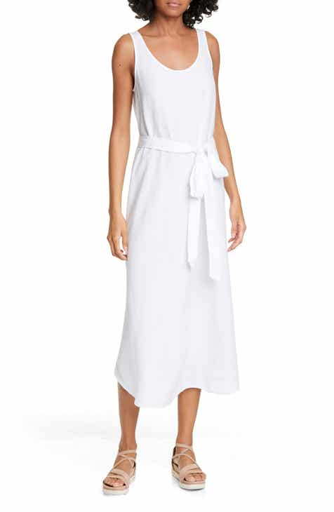 Eileen Fisher Tie Waist Sleeveless Linen Blend Midi Dress (Regular & Petite)