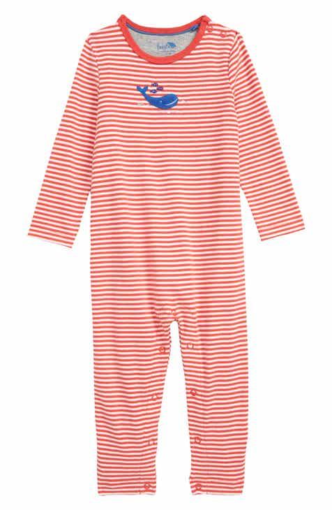 9a350815f4b9 Mini Boden Whale Appliqué Organic Cotton Romper (Baby)