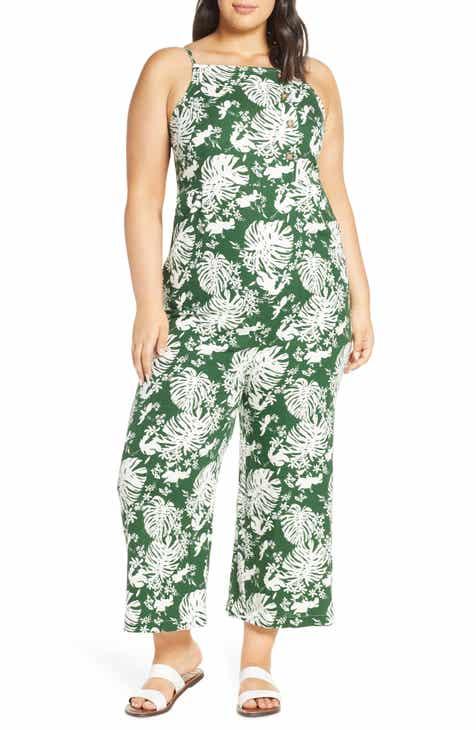 729123825438bf Leaf Print Side Button Linen Blend Crop Jumpsuit (Plus Size)