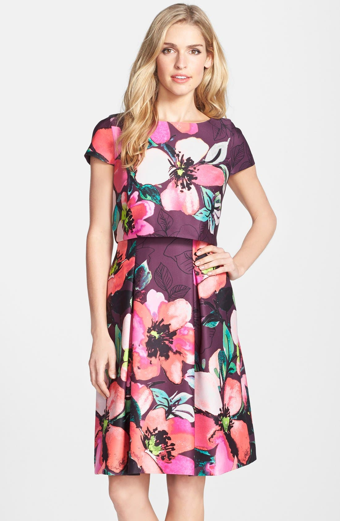 Main Image - Vince Camuto Floral Print Scuba Fit & Flare Popover Dress (Regular & Petite)